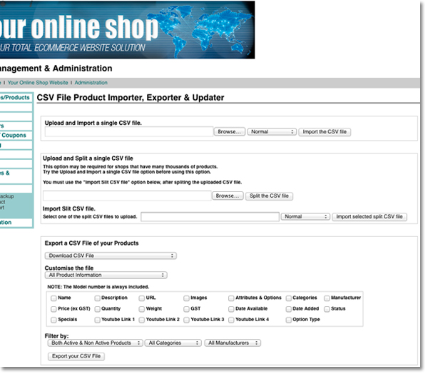 bulk data uploaded for online store