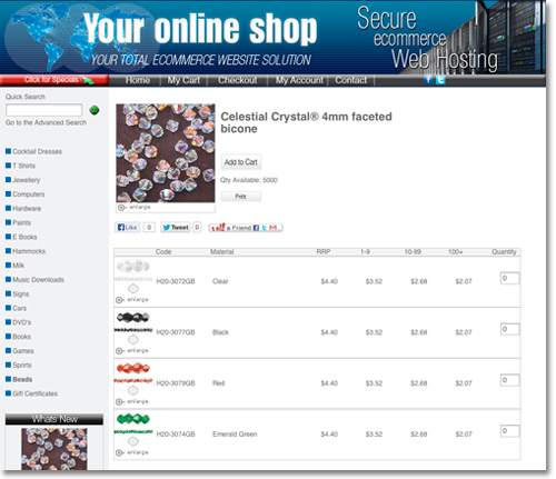 online shop display with list and quantities