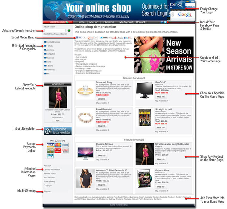 Standard online shop features